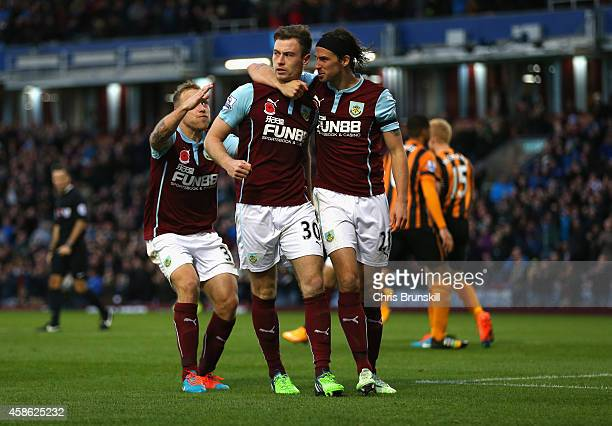 Ashley Barnes of Burnley celebrates scoring the opening goal with team mates during the Barclays Premier League match between Burnley and Hull City...