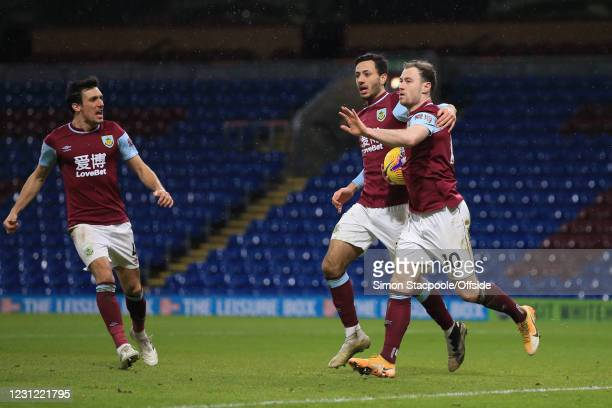 Ashley Barnes of Burnley celebrates scoring their 1st goal with Dwight McNeil during the Premier League match between Burnley and Fulham at Turf Moor...