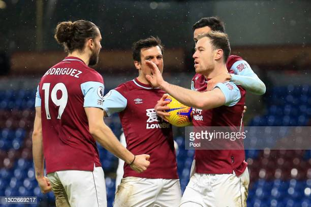 Ashley Barnes of Burnley celebrates with Jay Rodriguez after scoring his team's first goal during the Premier League match between Burnley and Fulham...
