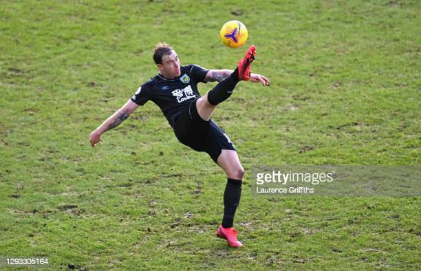 Ashley Barnes of Burnley clears during the Premier League match between Leeds United and Burnley at Elland Road on December 27, 2020 in Leeds,...