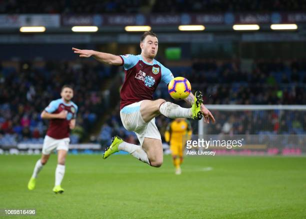 Ashley Barnes of Burnley controls the ball during the Premier League match between Burnley FC and Brighton Hove Albion at Turf Moor on December 8...