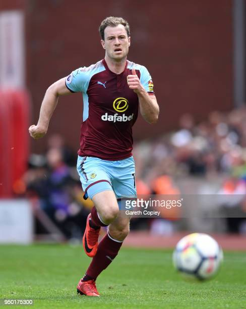 Ashley Barnes of Burnley during the Premier League match between Stoke City and Burnley at Bet365 Stadium on April 22 2018 in Stoke on Trent England