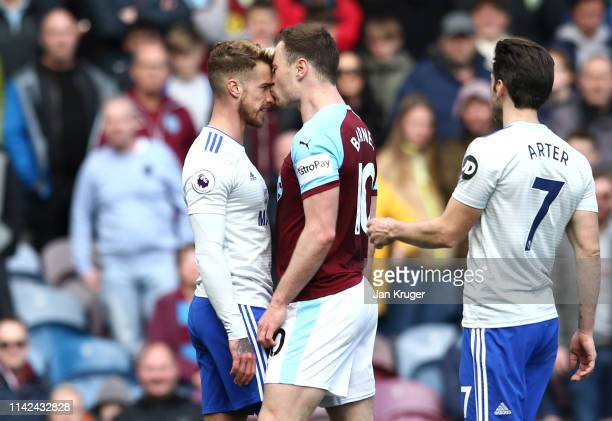 Ashley Barnes of Burnley kisses Joe Bennett of Cardiff City as they clash during the Premier League match between Burnley FC and Cardiff City at Turf...