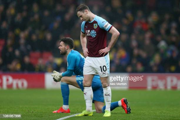 Ashley Barnes of Burnley reacts after a missed chance during the Premier League match between Watford FC and Burnley FC at Vicarage Road on January...
