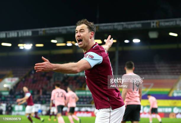 Ashley Barnes of Burnley reacts during the Premier League match between Burnley and Sheffield United at Turf Moor on December 29, 2020 in Burnley,...