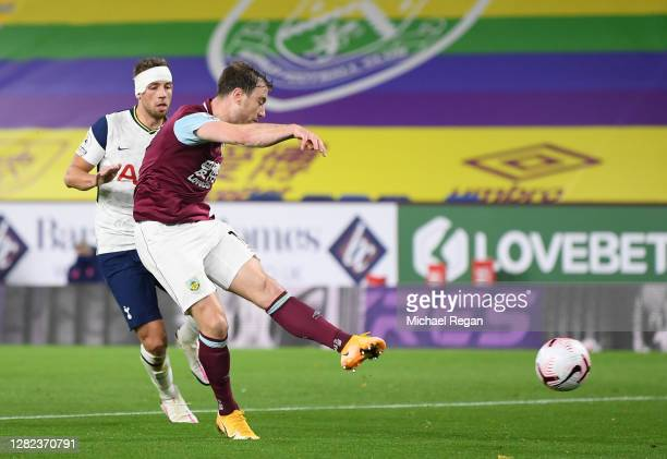 Ashley Barnes of Burnley scores a goal which is later disallowed for offside during the Premier League match between Burnley and Tottenham Hotspur at...