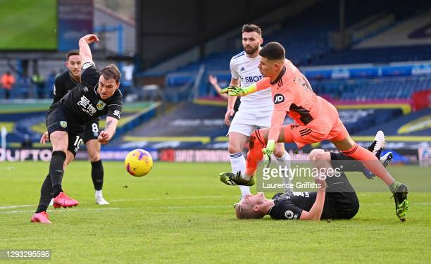 Ashley Barnes of Burnley scores but is disallowed due to a foul from Ben Mee of Burnley on Illan Meslier of Leeds United during the Premier League...