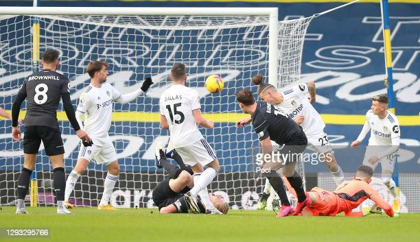 Ashley Barnes of Burnley scores but is disallowed due to a foul during the Premier League match between Leeds United and Burnley at Elland Road on...
