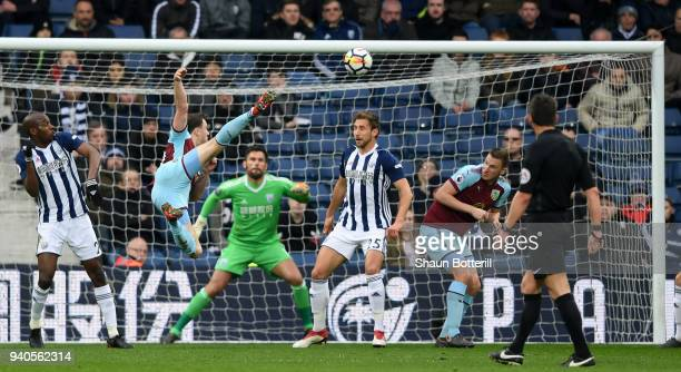 Ashley Barnes of Burnley scores his sides first goal during the Premier League match between West Bromwich Albion and Burnley at The Hawthorns on...