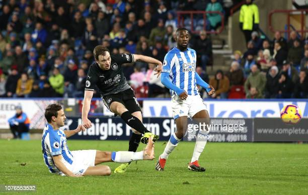 Ashley Barnes of Burnley scores his sides second goal during the Premier League match between Huddersfield Town and Burnley FC at John Smith's...
