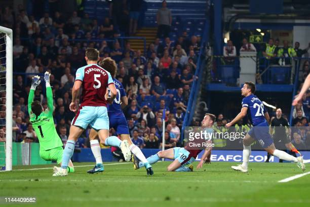 Ashley Barnes of Burnley scores his sides second goal during the Premier League match between Chelsea FC and Burnley FC at Stamford Bridge on April...