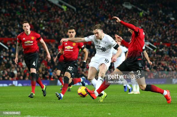 Ashley Barnes of Burnley scores his team's first goal during the Premier League match between Manchester United and Burnley at Old Trafford on...