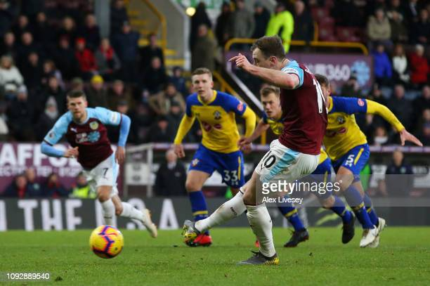 Ashley Barnes of Burnley scores his team's first goal from the penalty spot during the Premier League match between Burnley FC and Southampton FC at...