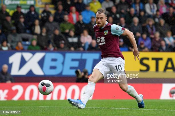 Ashley Barnes of Burnley scores his team's second goal during the Premier League match between Burnley FC and Southampton FC at Turf Moor on August...