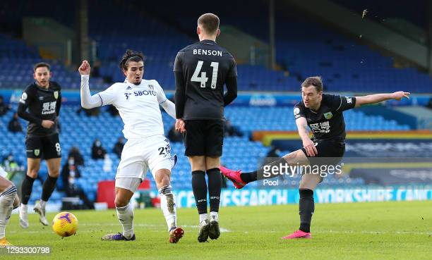 Ashley Barnes of Burnley shoots during the Premier League match between Leeds United and Burnley at Elland Road on December 27, 2020 in Leeds,...
