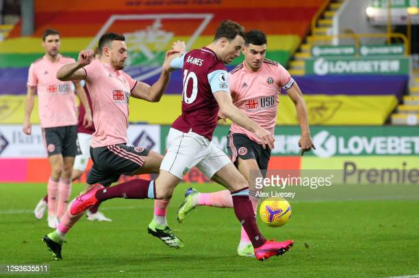 Ashley Barnes of Burnley takes a shot during the Premier League match between Burnley and Sheffield United at Turf Moor on December 29, 2020 in...
