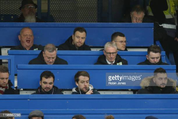 Ashley Barnes of Burnley whose injured watches from the press box during the Premier League match between Chelsea FC and Burnley FC at Stamford...