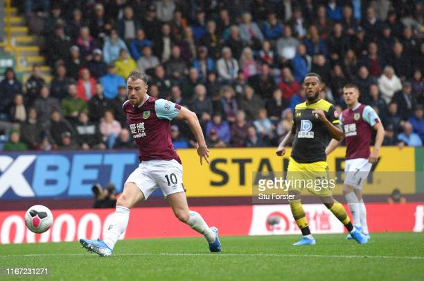 Ashley Barnes scores the second Burnley goal during the Premier League match between Burnley FC and Southampton FC at Turf Moor on August 10 2019 in...