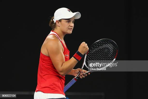 Ashley Barty of Australia celebrates match point in her second round match against Camila Giorgi of Italy on day four of the 2018 Australian Open at...