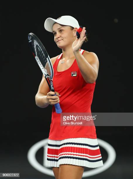 Ashley Barty of Australia celebrates to the crowd her three set victory after her second round match against Camila Giorgi of Italy on day four of...