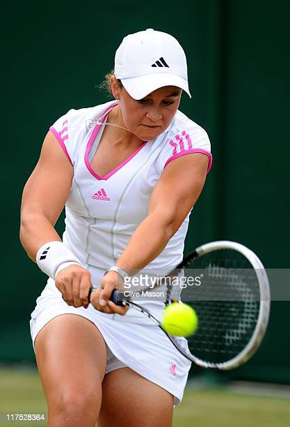 Ashley Barty of Australia in action during her first round girl's match against Lucy Brown of Great Britain on Day Seven of the Wimbledon Lawn Tennis...