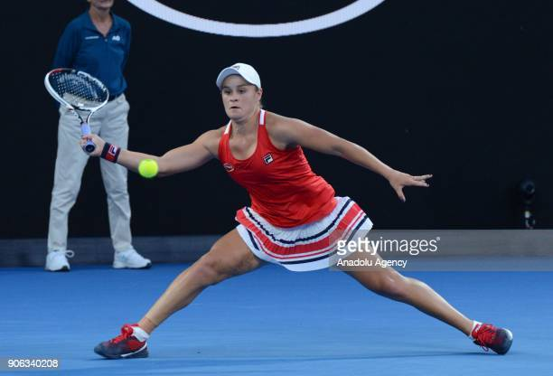 Ashley Barty of Australia in action in her second round match against Camila Giorgi of Italy on day four of the 2018 Australian Open at Melbourne...