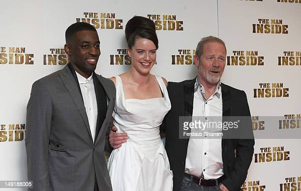 Ashley Bashy Thomas Michelle Ryan and Peter Mullan attend the UK premiere of The Man Inside at Vue Leicester Square on July 24 2012 in London England