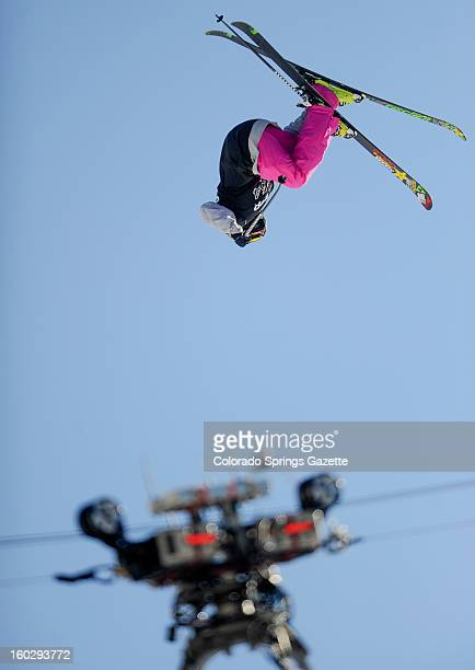 Ashley Battersby competes during the women's Ski Slopestyle finals at the ESPN X Games in Aspen Colorado Sunday January 27 2013