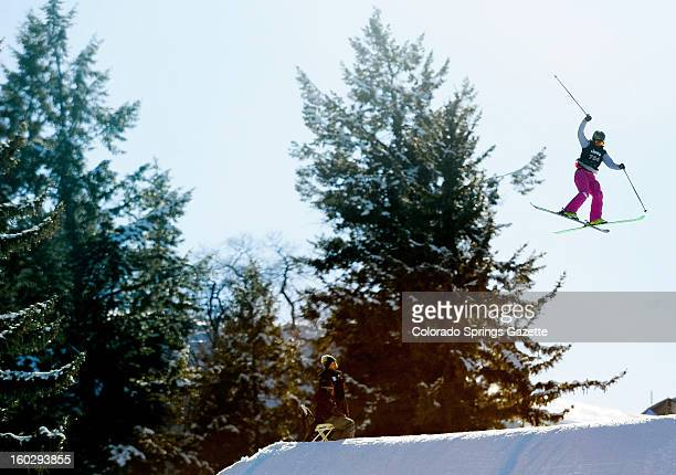 Ashley Battersby competes during the women's Ski Slopestyle finals at the ESPN X Games in Aspen Colorado Sunday January 27 2013 Battersby placed...