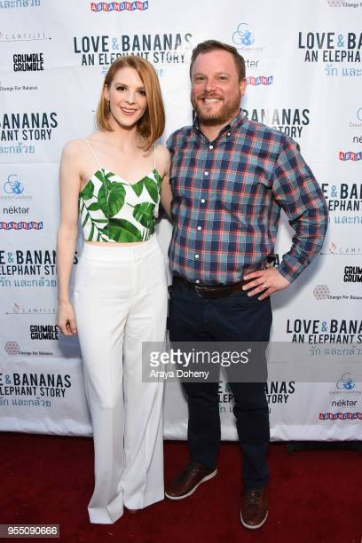 Ashley Bell and Producer Ross M Dinerstein attend the Love Bananas An Elephant Story Los Angeles premiere at Laemmle Music Hall on May 4 2018 in...