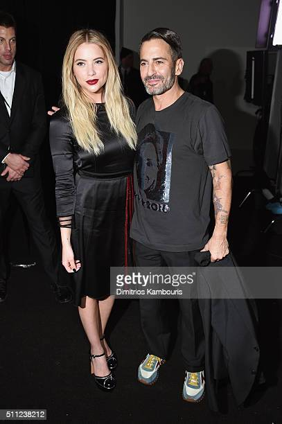 Ashley Benson and designer Marc Jacobs pose backstage at Marc Jacobs Fall 2016 fashion show during new York Fashion Week at Park Avenue Armory on...