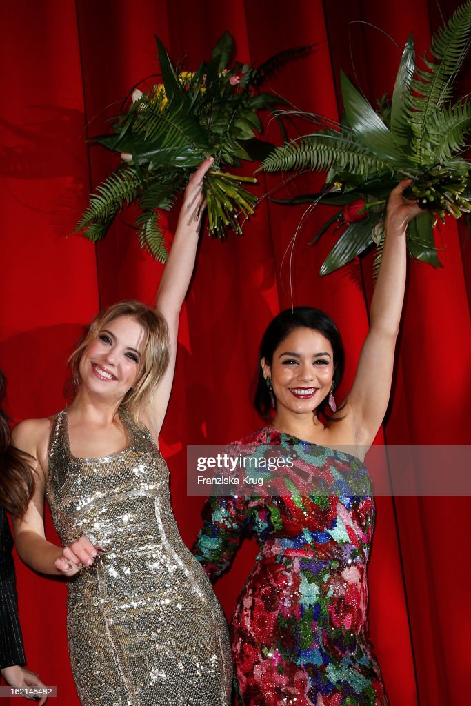 Ashley Benson and Vanessa Hudgens attend the German premiere of 'Spring Breakers' at the cinestar Potsdamer Platz on February 19, 2013 in Berlin, Germany.