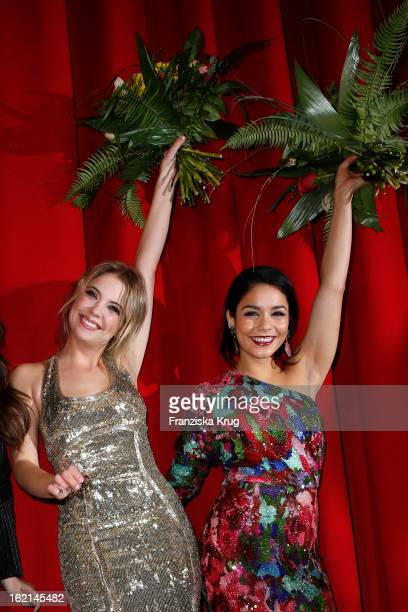 Ashley Benson and Vanessa Hudgens attend the German premiere of 'Spring Breakers' at the cinestar Potsdamer Platz on February 19 2013 in Berlin...