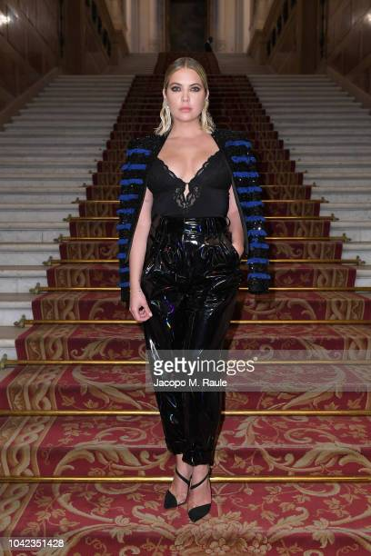 Ashley Benson attends the Balmain show as part of the Paris Fashion Week Womenswear Spring/Summer 2019 on September 28, 2018 in Paris, France.