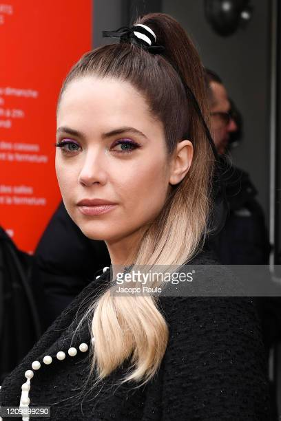 Ashley Benson attends the Giambattista Valli show as part of the Paris Fashion Week Womenswear Fall/Winter 2020/2021 on March 02, 2020 in Paris,...