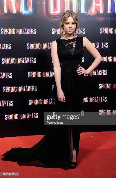 Ashley Benson attends the premiere of 'Spring Breakers' at Callao Cinema on February 21 2013 in Madrid Spain