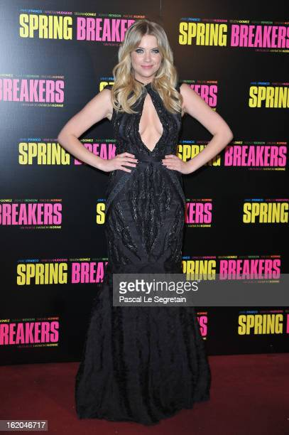 Ashley Benson attends the Spring Breakers Paris Premiere at Le Grand Rex on February 18 2013 in Paris France