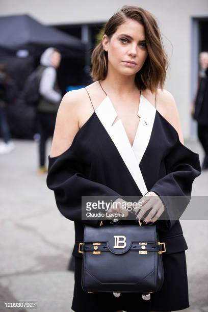 Ashley Benson is seen outside Balmain fashion show on February 28, 2020 in Paris, France.