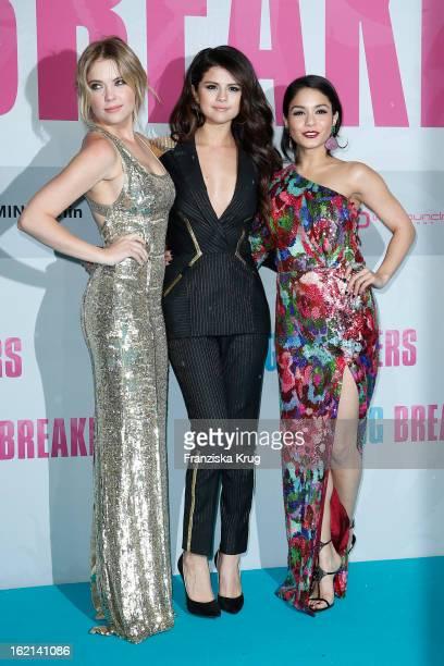 Ashley Benson Selena Gomez and Vanessa Hudgens attend the German premiere of 'Spring Breakers' at the cinestar Potsdamer Platz on February 19 2013 in...