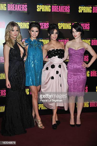 Ashley Benson Selena Gomez Vanessa Hudgens and Rachel Korine attend the 'Spring Breakers' Paris Premiere at Le Grand Rex on February 18 2013 in Paris...