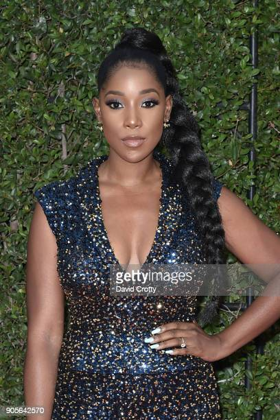 Ashley Blaine Featherson attends the 49th NAACP Image Awards Arrivals at Pasadena Civic Auditorium on January 15 2018 in Pasadena California