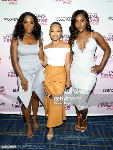 Ashley Blaine Featherson Logan Browning and Antoinette attend the 2017 Essence Festival Day 1 on June 30 2017 in New Orleans Louisiana