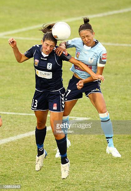 Ashley Brown of Melbourne and Kyah Simon of Sydney contest possession during the W-League semi final match between Sydney FC and the Melbourne...