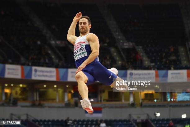 Ashley Bryant of Great Britain competes in the Men's Heptathlon Long Jump during day two of the 2017 European Athletics Indoor Championships at...