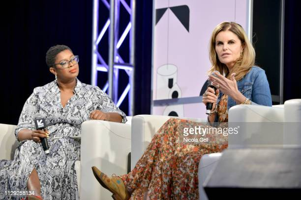 Ashley C Ford and Maria Shriver speak onstage at Featured Session Maria Shriver Alexandra Socha and Farida Sohrabji with Ashley C Ford during 2019...