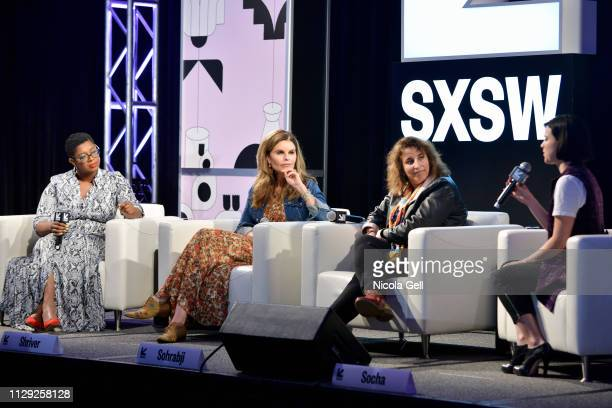 Ashley C Ford Maria Shriver Farida Sohrabji and Alexandra Socha speak onstage at Featured Session Maria Shriver Alexandra Socha and Farida Sohrabji...