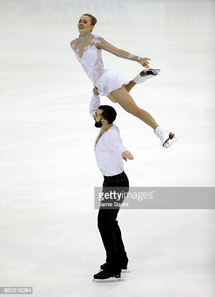 Ashley Cain and Timothy LeDuc compete in the Championship Pairs Free Skate routine during the 2017 US Figure Skating Championships at the Sprint...