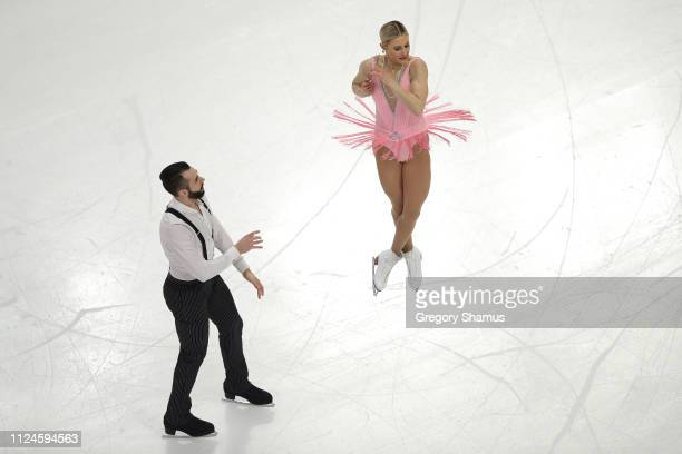 Ashley Cain and Timothy LeDuc compete in the championship pairs short program during the 2019 Geico US Figure Skating Championships at Little Caesars...