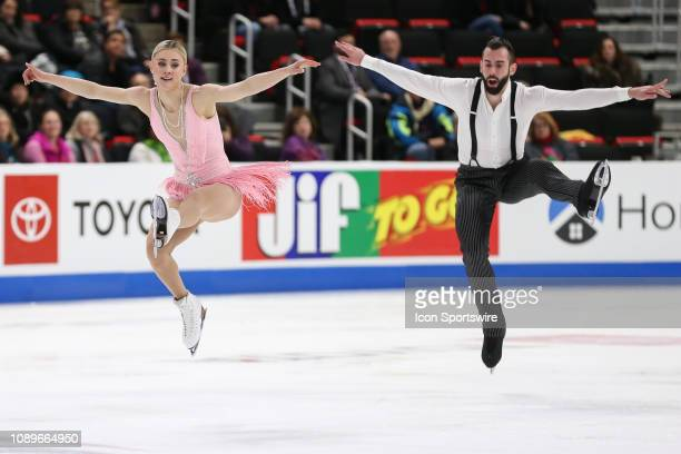 Ashley Cain and Timothy LeDuc compete in the championship senior pairs short program during the 2019 Geico US Figure Skating Championships at Little...