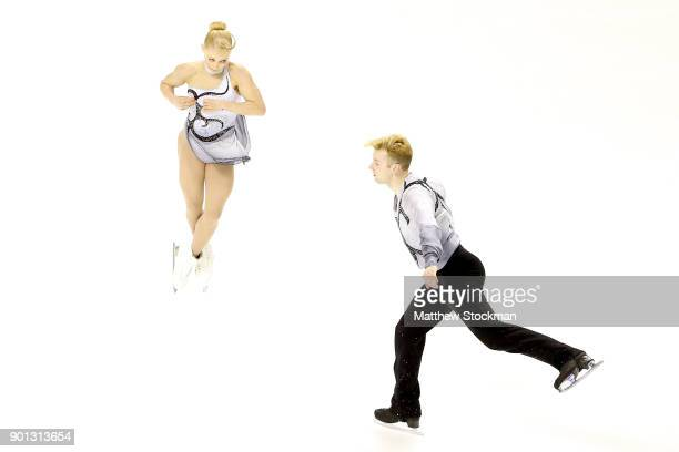 Ashley Cain and Timothy LeDuc compete in the Pairs Short Program during the 2018 Prudential US Figure Skating Championships at the SAP Center on...